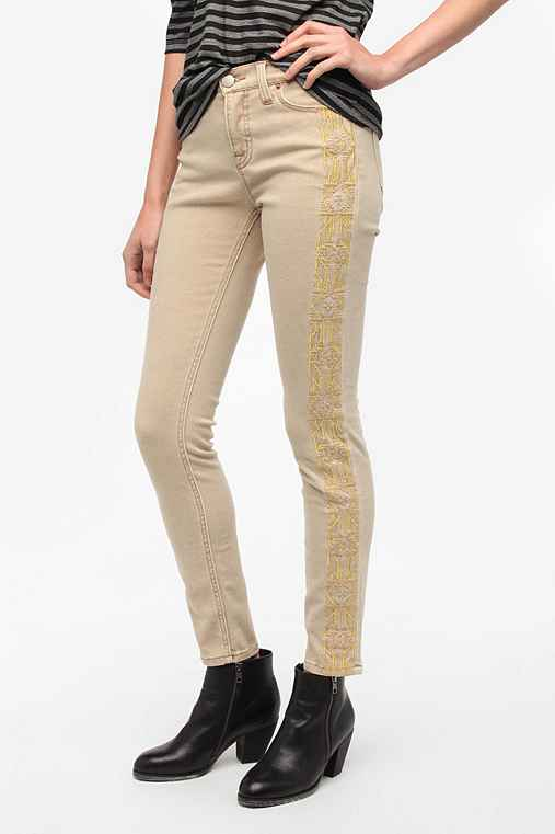 BDG Cigarette High-Rise Jean - Embroidered Stripe