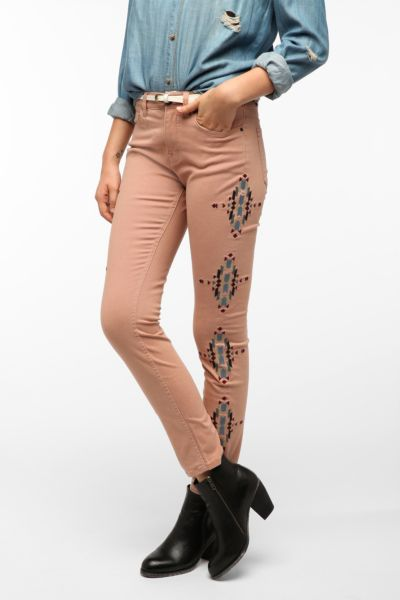 BDG Cigarette High-Rise Jean - Pink Embroidered