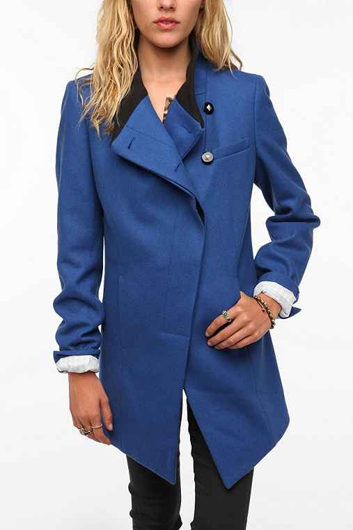 D Collection Asymmetrical Rib Collar Wool Coat