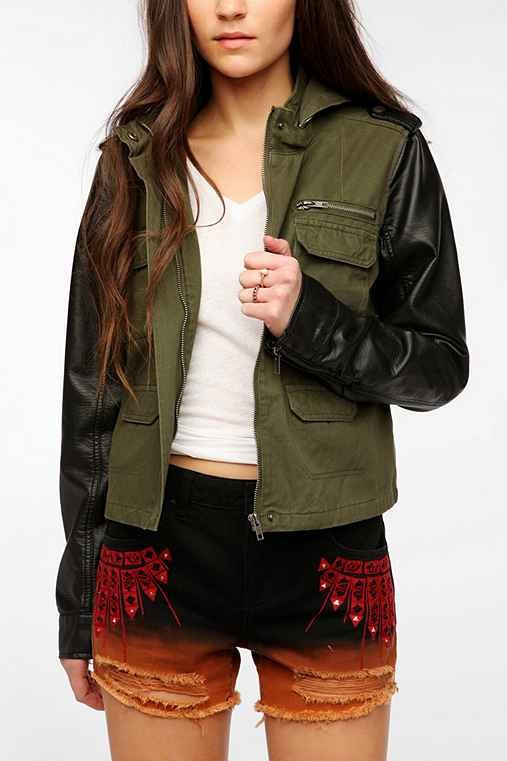Staring At Stars Vegan Leather Sleeve Surplus Jacket