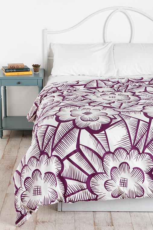 Plum & Bow Floral Crosshatch Duvet Cover