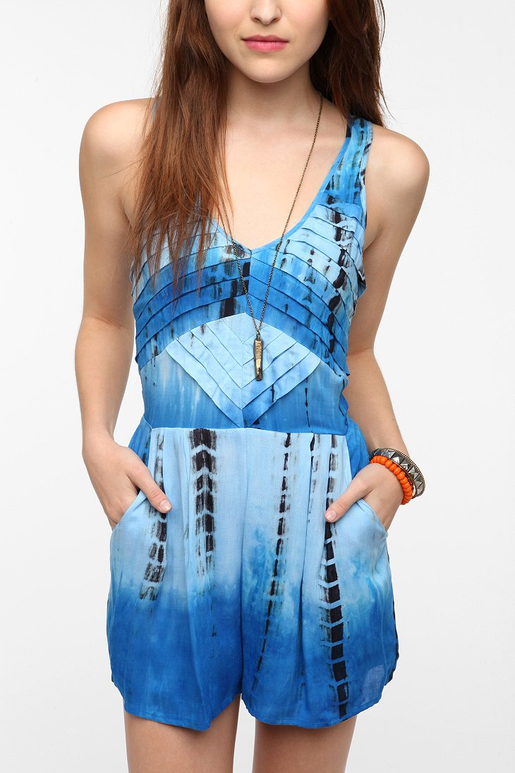 Staring At Stars Pleated Tie Dye Romper Urban Outfitters