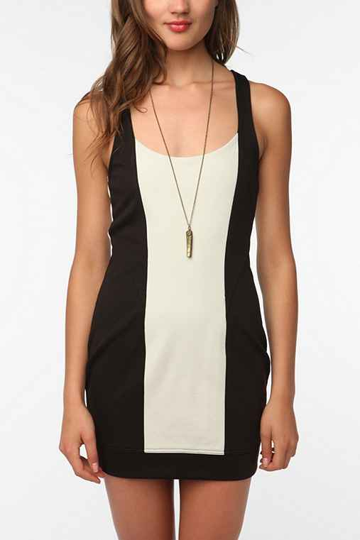 Silence & Noise Ponte Paneled Bodycon Dress