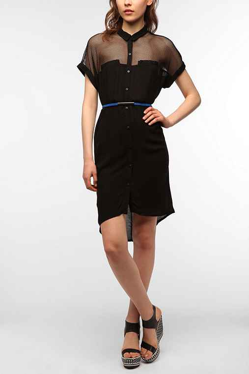 Silence & Noise Mesh Yoke Shirtdress