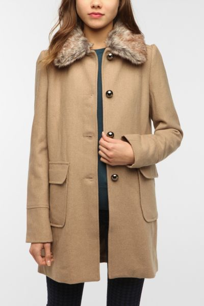Pins and Needles Faux Fur Collar Wool Coat