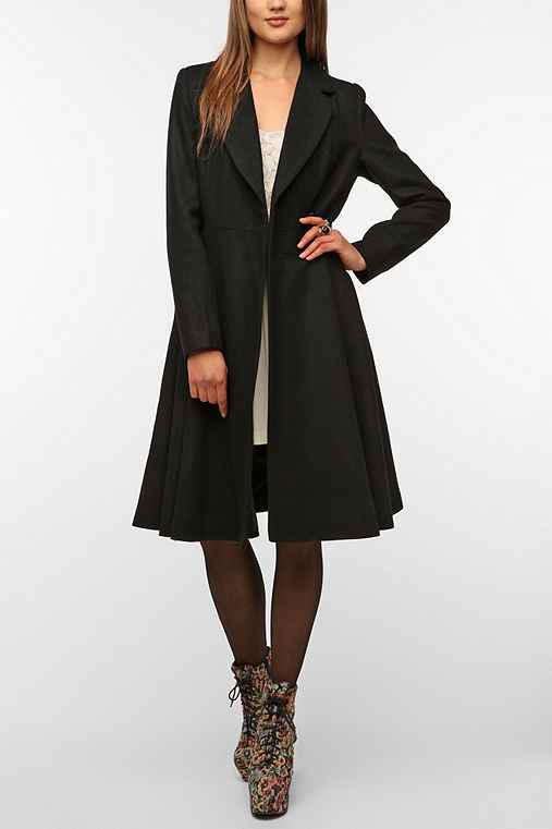 Latte Full Skirt Wool Coat