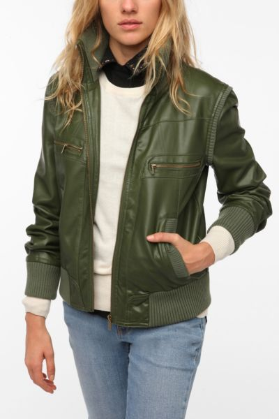 BDG Faux Leather Ribbed Collar Bomber Jacket
