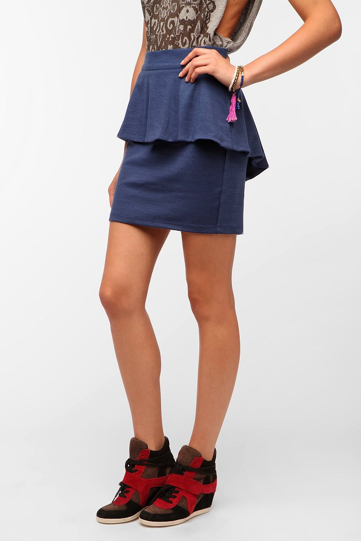 sparkle fade high low peplum skirt outfitters
