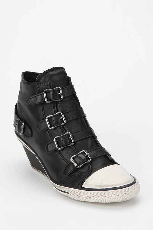 Ash Genial Leather High-Top Wedge-Sneaker: Black 9 Womens Sneakers