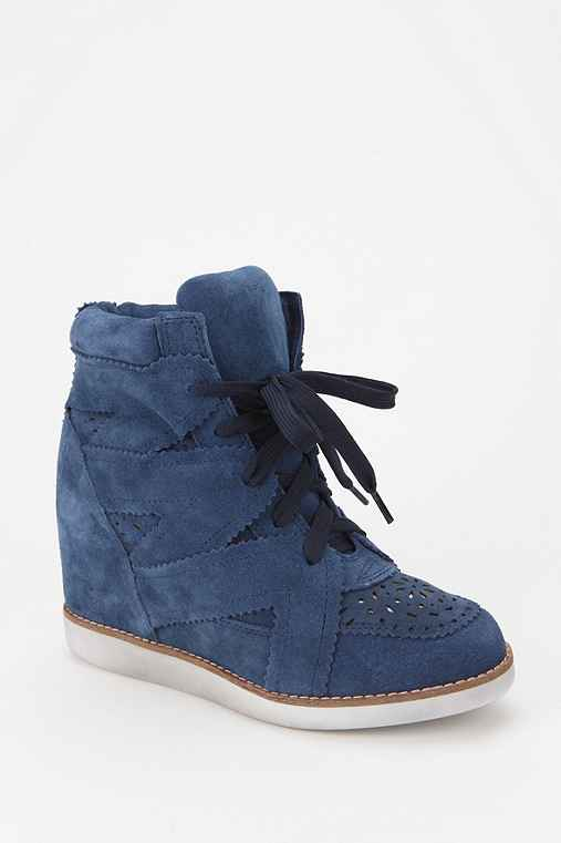 Jeffrey Campbell Venice Suede High-Top Wedge-Sneaker: Navy 9 Womens Sneakers