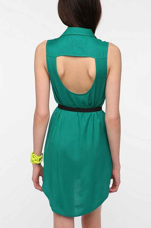 Sparkle & Fade Open-Back Sleeveless Shirtdress
