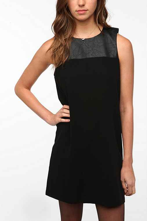 byCORPUS Leather Trim Crepe Shift Dress