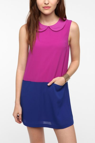 Chandi & Lia Peter Pan Collar Colorblock Dress