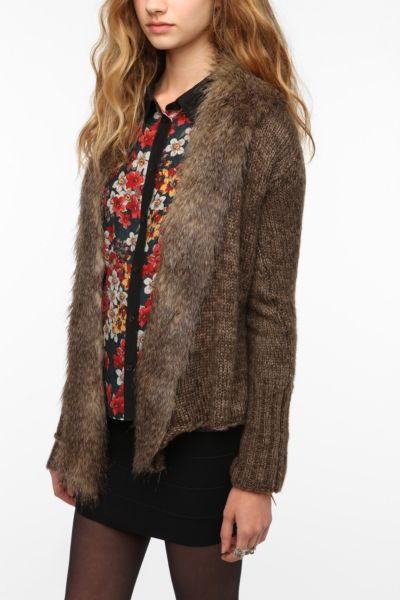 Jack By BB Dakota Gill Faux Fur Trimmed Cardigan