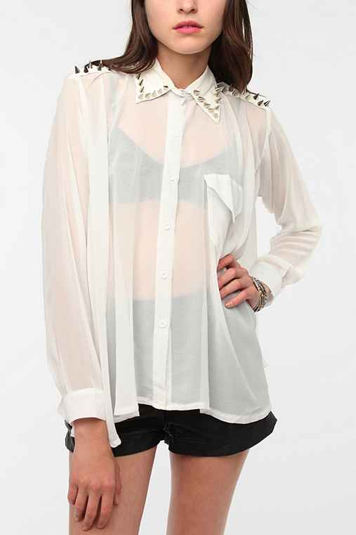 UNIF Spiked Collar Chiffon Blouse