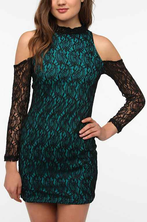 MINKPINK Irresistible Lace Cold Shoulder Dress