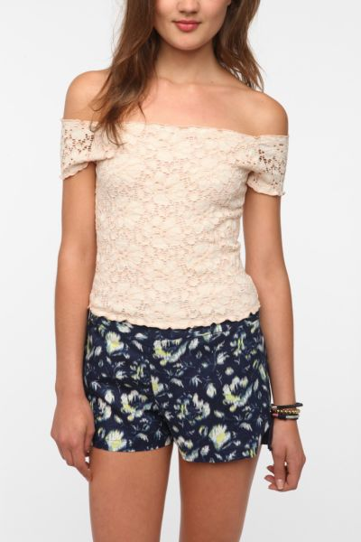 Pins and Needles Lace Off The Shoulder Tee