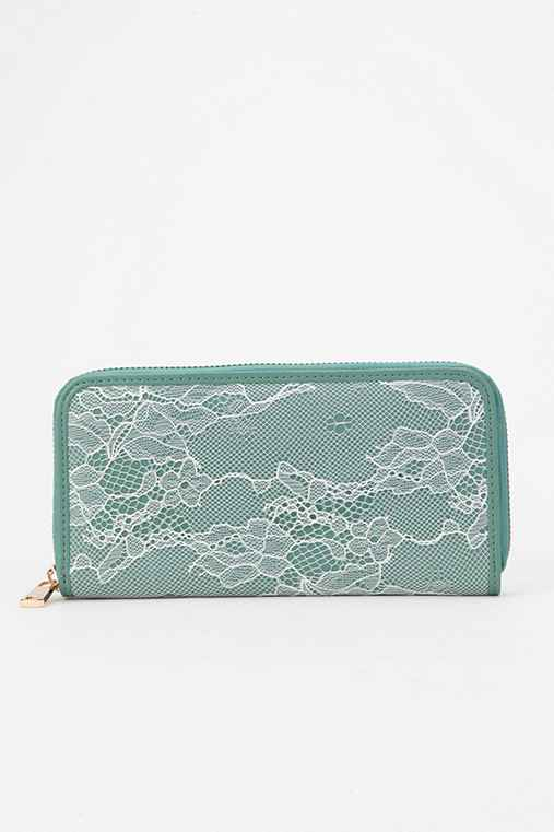 Kimchi Blue Lace Overlay Checkbook Wallet