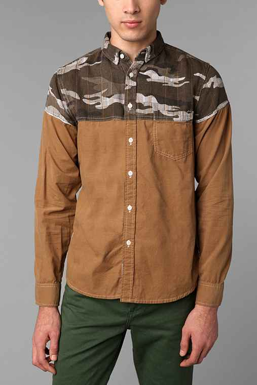 Oxford Lads Blocked Camo Cord Shirt
