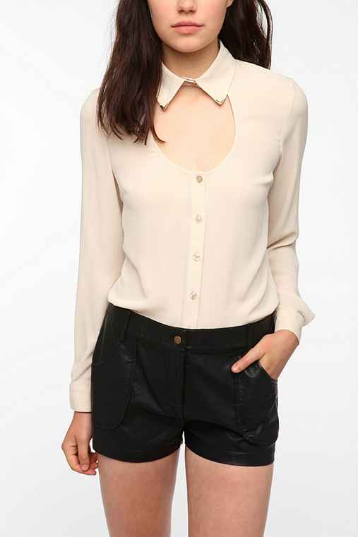Sparkle & Fade Open Neck Metal Tip Blouse