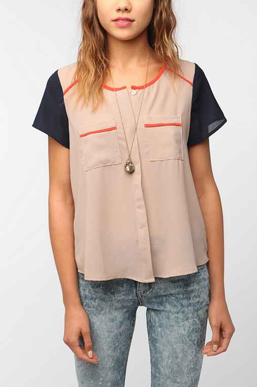 Coincidence & Chance Short-Sleeved Colorblock Blouse