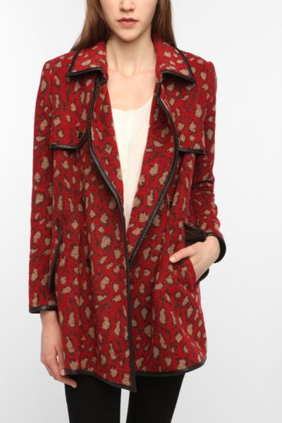 DV By Dolce Vita Red Leopard-Print Coat