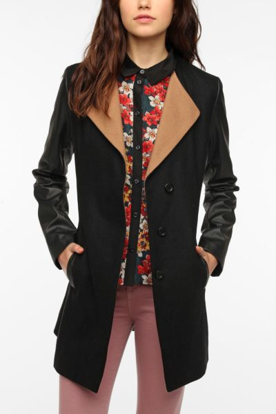Sparkle & Fade Faux Leather Sleeve Coat