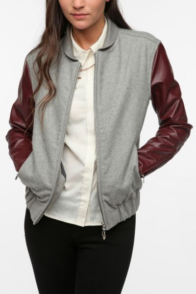 WeSC Edif Faux Leather Mix Bomber Jacket