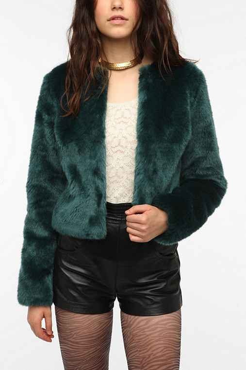 Sparkle & Fade Cropped Faux Fur Jacket