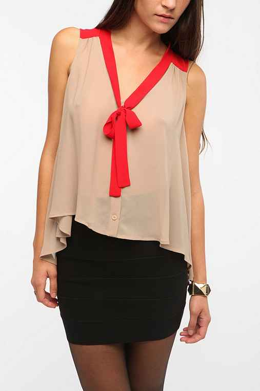 Pins and Needles Colorblock Tie Neck Tank from urbanoutfitters.com