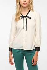 Coincidence & Chance Faux Leather Trim Blouse