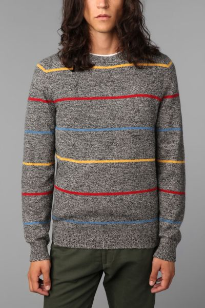 O'Hanlon Mills Striped Crew-Neck Pullover Sweater