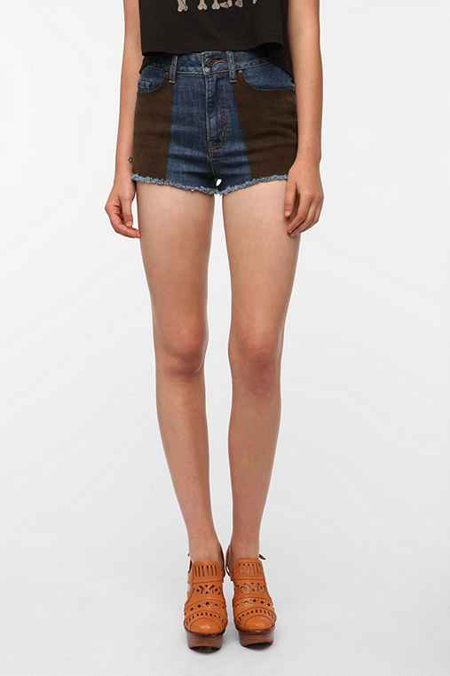 Ecote Suede Patch Denim Short