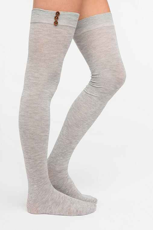 Button Thigh-High Sock