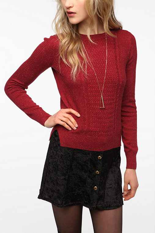 Pins and Needles Mixed Stitch Long-Sleeve Sweater