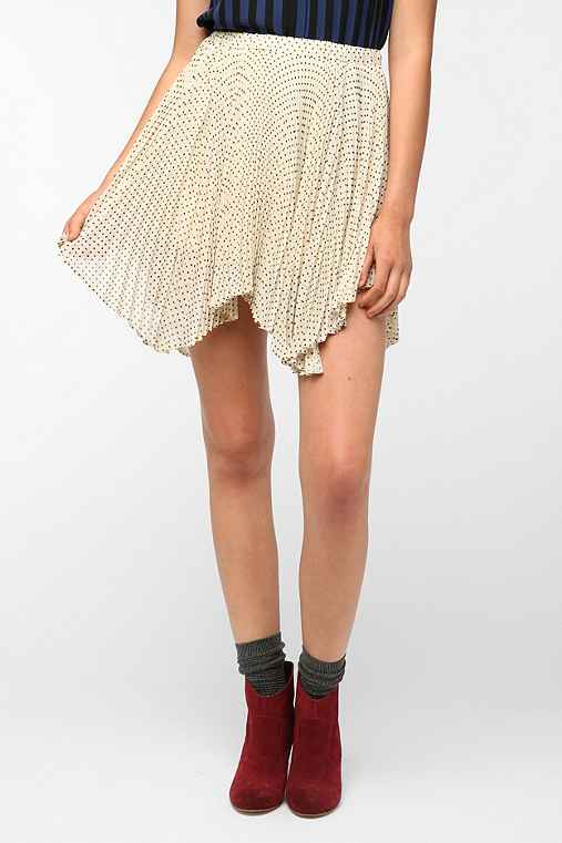 Pins and Needles Pleated Uneven Hem Chiffon Skirt