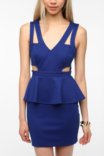 Sparkle & Fade Side Cutout Ponte Knit Peplum Dress
