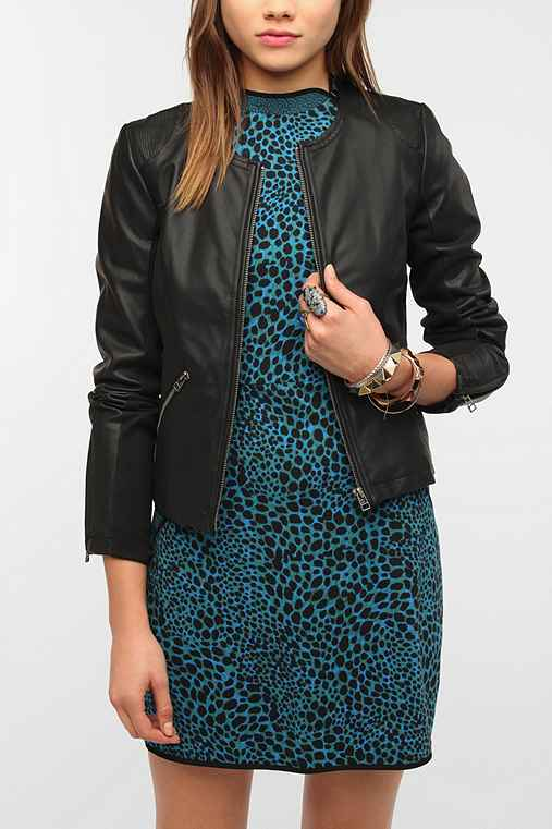 Sparkle & Fade Faux Leather Rib Mix Jacket