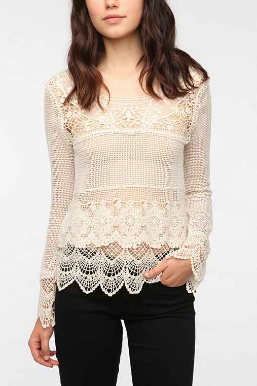 Staring at Stars Long-Sleeved Crochet Mix Top