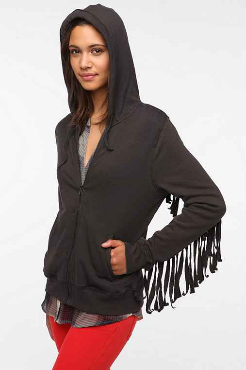 Ecote Fringed Zip-Up Hoodie