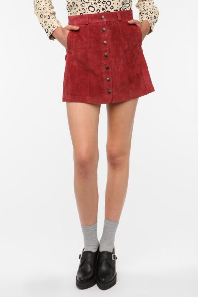 Cooperative Suede Snap Front Mini Skirt