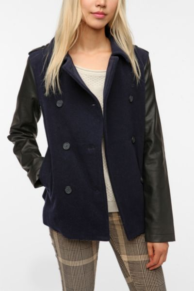 BDG Faux Leather Sleeve Pea Coat