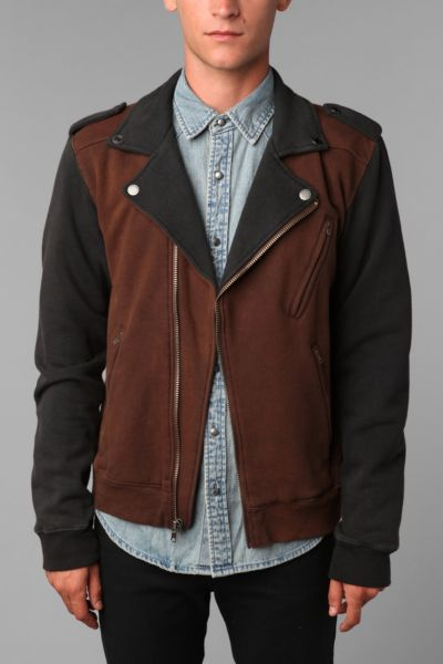 Charles & 1/2 Colorblock Moto Jacket