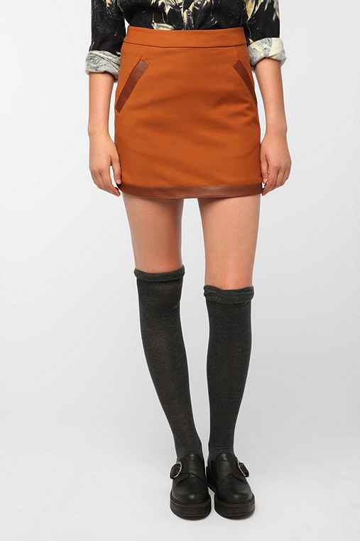 Pins and Needles Vegan Leather Trim Skirt