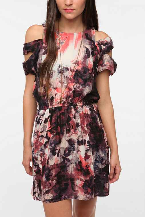 Silence & Noise Silky Slashed Sleeve Dress