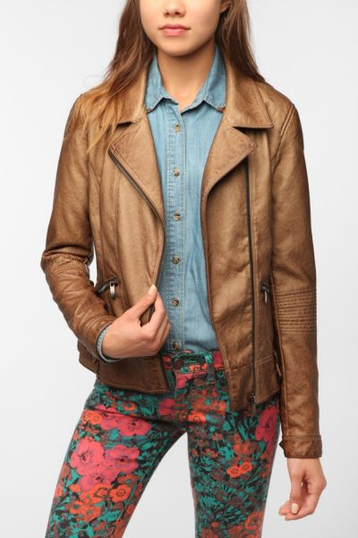 Sparkle & Fade Washed Faux Leather Moto Jacket