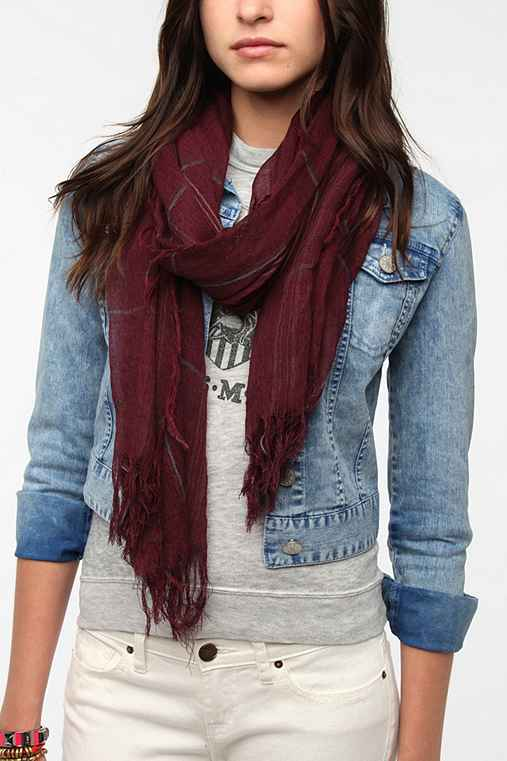 Study Hall Plaid Scarf - Urban Outfitters