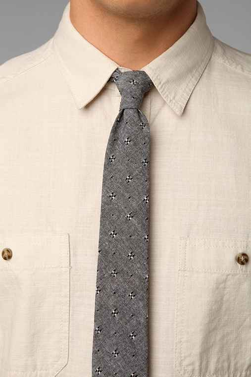 Embroidered Chambray Tie