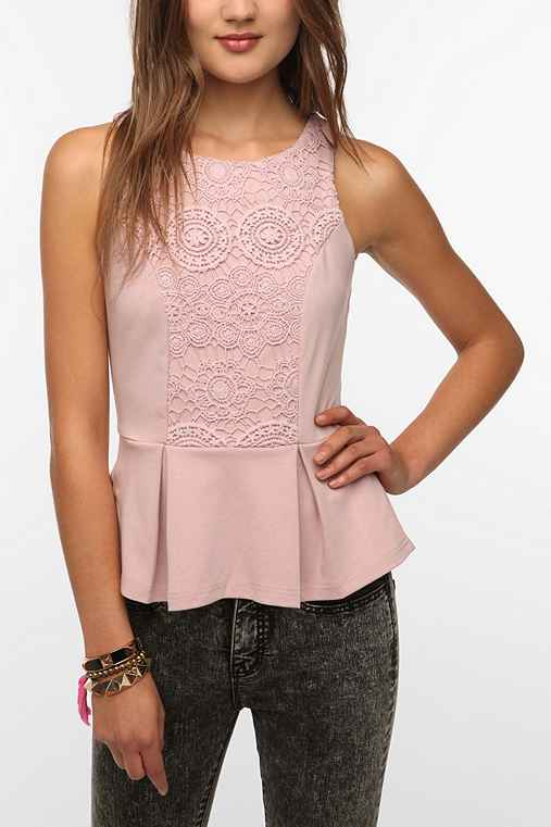Staring at Stars Crochet Inset Peplum Tank Top