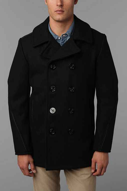 Schott Leather Trim Slim Pea Coat